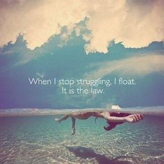 When I stop struggling I float. It is the law.