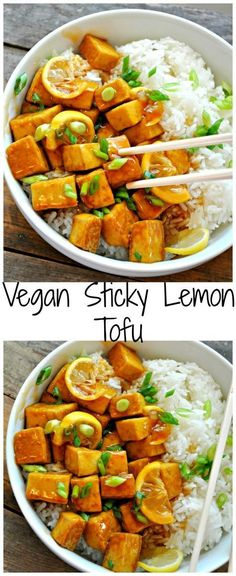 Vegan Sticky Lemon Tofu - Rabbit and Wolves. Better than take out in every way! Fast, easy, healthy and delicious! Vegan Sticky Lemon Tofu - Rabbit and Wolves. Better than take out in every way! Fast, easy, healthy and delicious! Vegan Dinner Recipes, Vegan Dinners, Healthy Recipes, Vegan Recipes Dinner Healthy, Easy Vegan Meals, Tofu Meals, Vegan Recipes Easy Healthy, Vegetarian Recipes Tofu, Vegan Potluck