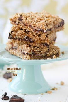 These gooey, buttery German Chocolate Oatmeal Bars are full of caramel, coconut, pecans, and German chocolate chunks.