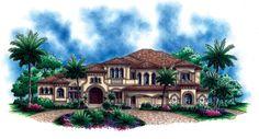 House Plan 60484   Florida   Mediterranean    Plan with 7384 Sq. Ft., 5 Bedrooms, 6 Bathrooms, 4 Car Garage