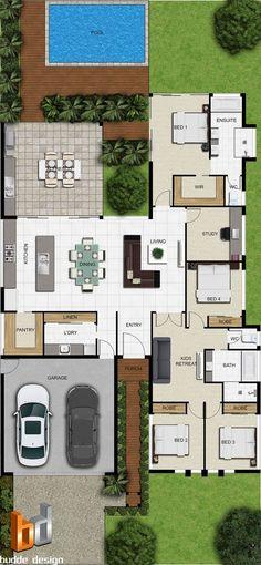 Pinterest: @claudiagabg | Casa 3 cuartos 1 estudio abierto piscina