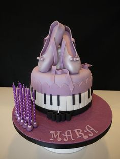 Ballet shoes and piano birthday cake