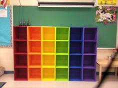 20 Ways to Brighten Up Your Classroom With a Vibrant Rainbow Theme – Bored Teachers Preschool Cubbies, Classroom Cubbies, Kindergarten Classroom Decor, Diy Classroom Decorations, Classroom Setting, Classroom Design, Student Cubbies, Art Classroom Decor, Daycare Cubbies