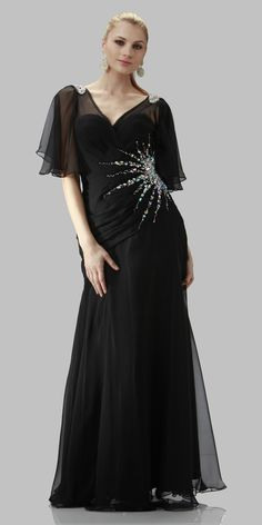 ON SPECIAL LIMITED STOCK - V Neck Cape Sleeved Black Long Mother Of The Bride Dress
