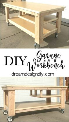 Need to update the space in your garage? This large Garage Workbench is perfect . Need to update the space in your garage? This large Garage Workbench is perfect for working on proj Workbench On Wheels, Rolling Workbench, Workbench Plans Diy, Mobile Workbench, Woodworking Workbench, Woodworking Projects Diy, Woodworking Furniture, Diy Wood Projects, Diy Furniture