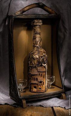 Sculpey polymer on wine bottle Whiskey Bottle Crafts, Glass Bottle Crafts, Wine Bottle Art, Diy Bottle, Bottle Vase, Spoon Art Diy, Plastic Spoon Art, Small Perfume Bottles, Bottles And Jars