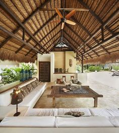 outdoor living room furniture, outdoor living room with fireplace , outdoor living room design , outdoor living room cost , outdoor living room and kitchen Tropical House Design, Tropical Beach Houses, Tropical Home Decor, Modern Tropical House, Tropical Furniture, Tropical Interior, Hut House, Bali House, Modern Family Rooms