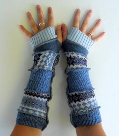 Pull upcycled Fingerless Gants Mitaines recyclé vêtements Denim Delight