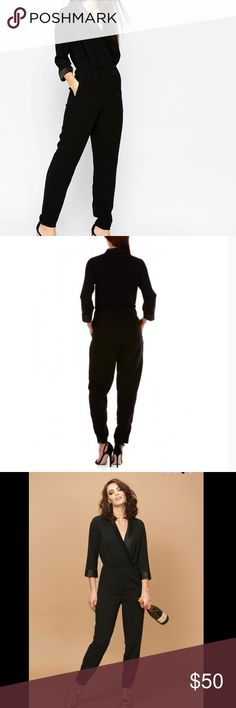 """🖤ASOS🖤SUGARHILL BOUTIQUE ANNICA JUMPSUIT🖤 ASOS Sugarhill Boutique  Annica tuxedo style jumpsuit is created with a softly draping and flattering fit.  Pull on styling with front zipping on the pants part as well as One button on the  waist and a snap closure at the lapel. 😍POCKECTS😍.  Material label missing but was listed on ASOS Website. 100% polyester woven. Measured flat bust 18 1/2 waist 15 1/2 inseam 26 1/2 length 55"""" size 4 is listed but certainly can fit a size 6 as well check the…"""