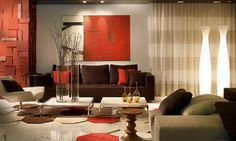 idee deco salon marron orange Decoration Salon - Home Page Living Room Orange, Living Room Colors, New Living Room, Interior Design Living Room, Home And Living, Living Room Designs, Living Room Decor, Modern Living, Bedroom Colors