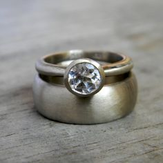 I'm in <3 <3 <3 with this ring!!! White Sapphire Engagement Ring Wedding Set in 14k by onegarnetgirl, $2424.00