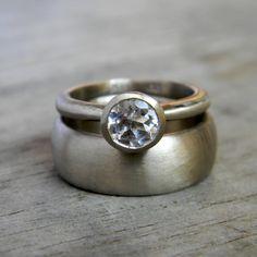 White Sapphire Engagement Ring Wedding Set in 14k Palladium White Gold, Made To Order