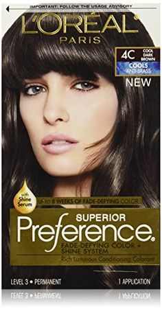 L'Oreal Paris Superior Preference Fade-Defying Color + Shine System, 4C Cool Dark Brown(Packaging May Vary)