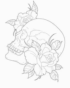 Skulls and Roses Outline by lou987.deviantart.com on