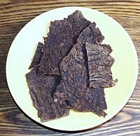Easy Homemade Jerky - A hearty snack great for taking along camping or hiking.  Can be done in the oven or the dehydrator.
