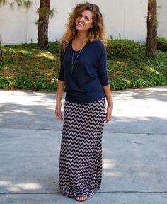 $22.99 Navy and Tan Chevron Maxi Skirt. Love!