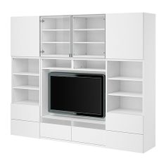 BESTÅ TV/storage combination IKEA Drawers made partly of tempered glass; the remote control works through the glass.