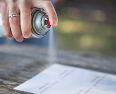Krylon Waterproof Label Overcoat Spray - For an even coat, begin spraying off the surface of the labels and pass over the sheet to the other edge. Release the spray button after each pass and give the can a good shake. Repeat until label sheet is covered.