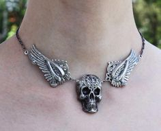 Pink Absinthe - Etsy- Winged Skull Gothic Choker necklace