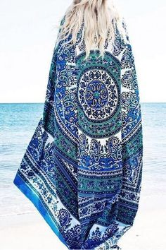 """Let your artistic side show through on the Cupshe Never End Chiffon Beach Towel.Product Code: CTZ012Details: Squaresilhouette Thickness: thin Length: 54"""" Regul"""
