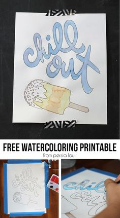 Popsicle Watercoloring Page - Free Printable - Persia Lou Fun Crafts, Paper Crafts, Kids Watercolor, Silhouette Curio, Craft Projects, Craft Ideas, Diy Ideas, Summer Fun, Summer Ideas