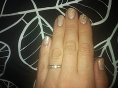 My shellac nails nude with silver sparkles!