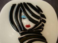 fused glass - dish Lady