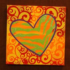 This lovely heart canvas is so easy just a little paint and stencils!!