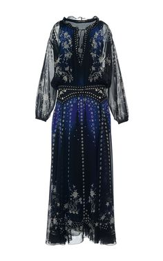 Star Printed Silk Georgette Long Dress by ROBERTO CAVALLI for Preorder on Moda Operandi
