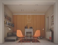 interior design , peach eames chairs