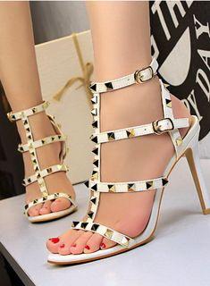 db84af049220 White Rivet Studded Straps Stiletto High Heels Sandals