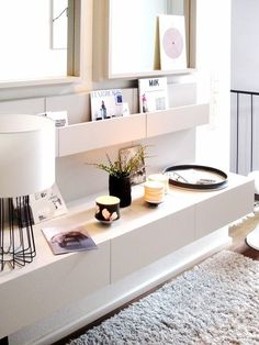 Three nightstands turned into an ultramodern living room console via Distractify. Ikea unit used: MALM Nightstands (discontinued) Decor, House Design, Home Living Room, Interior, Ikea Malm Nightstand, Ikea Upgrades, House Interior, Home Deco, Interior Design