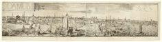 Romeyn de Hooghe | Gezicht op Rotterdam vanaf de Maas (rechterhelft), Romeyn de Hooghe, 1694 | Rechterhelft van een gezicht op Rotterdam vanaf de Maas, met op de voorgrond enkele schepen en boven de voorstelling een banderol met 'ROTTERODAMUM'. Deze bladen maken deel uit van een omvangrijke prent met een grote plattegrond van Rotterdam, omgeven door een stadsprofiel (onder) en gezichten op markante Rotterdamse gebouwen en locaties (links en rechts).