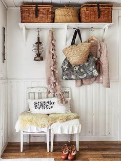 ok, instead of hall tree---couple old doors with some knobs up high for hanging, prob 3 chairs would fit and then a wide shelve above