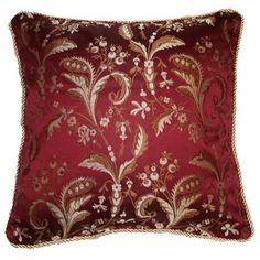 Charlton Home Rockport Damask Decorative Throw Pillow Color: Burgundy