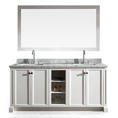 "UrbanFurnishing.net - Jocelyn 60-Inch (60"") Bathroom Sink Vanity Set with White Italian Carrara Marble Top - Charcoal"
