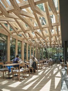 Pergola With Roof Plans Bamboo Structure, Timber Structure, Wood Pergola, Pergola Plans, Pergola Kits, Pergola Ideas, Roof Design, Cafe Design, Ceiling Design