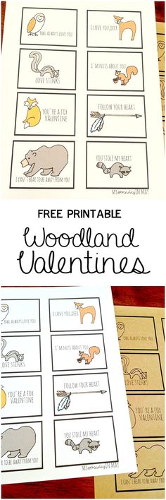 Adorable Free Printable Woodland Valentines