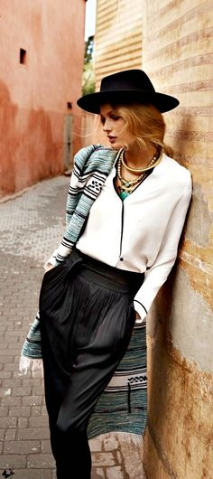 Mango SS13 - boho scarf - high waisted black pants - white shirt - statement necklaces