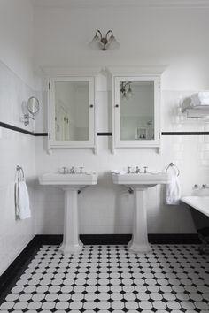art deco bathroom white tiles with black border - Google Search