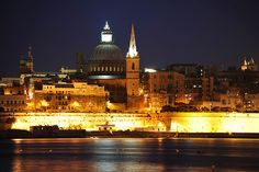 The Valletta skyline and bastions.