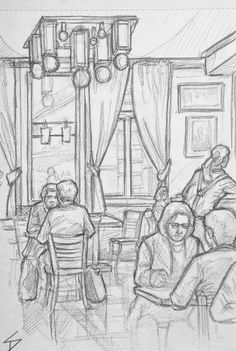Quick Sketch Cafe Adria Prague A spacious Art Deco restaurant and cafe The building has an amazing Deco exterior facade This was tricky to draw since most of the people left or moved straight after I began drawing them davidas Human Figure Sketches, Figure Sketching, Urban Sketching, Figure Drawing, Sketch Restaurant, Deco Restaurant, Quick Restaurant, Restaurant Exterior, Perspective Drawing Lessons