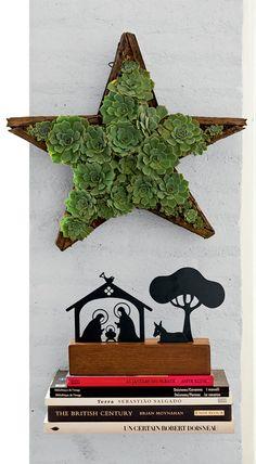 Decoração de Natal: árvores de galhos e castiçal de garrafão - Casa