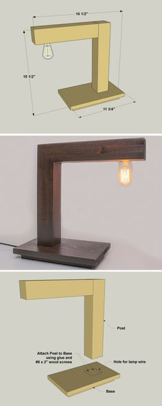 With its modern styling and antique-style bulb, this desk lamp offers a unique look that's sure to please. It's made from just three short boards, plus simple lamp hardware. The biggest challenge with this project is drilling a couple of long, straight holes, which will help you work on your skills. Get the free DIY plans at buildsomething.com