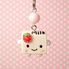Strawberry Milk Cell Phone Charm Zipper Pull Kawaii Food