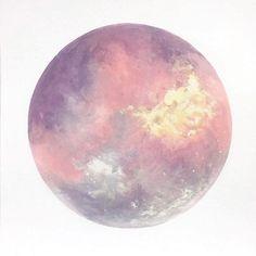 Moon Print Moon Art Purple Moon Pink Moon Abstract by BirchBliss