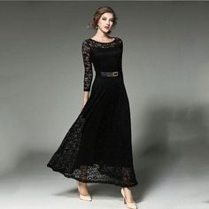 Elegant Vestidos Long Sleeve Embroidery Lace O-neck Ankle-length Maxi Dress