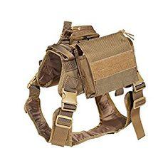 Amazon.com : Feliscanis Service Dog Vest Harness Training Tactical Molle Dog Vest with Detachable Patches Pouches Brown Size L : Pet Supplies