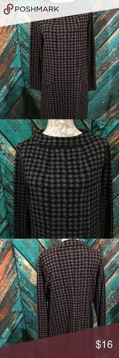 Chadwick's Houndstooth Dress Petite Large Chadwicks Dress Women's Petite Large Gently used.  No holes or stains. This dress has pockets and long sleeves.  Black & gray houndstooth print. 67% polyester, 32% rayon & 1% spandex under arms seam to seam  19  inches front length from top of shoulder to bottom  38  inches Chadwicks Dresses