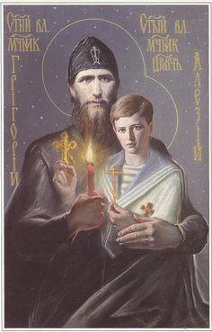 Icon of Grigory Rasputin and Alexei Romanov. Knowing the story, this is beautifully creepy..